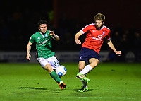 York City's Shaun Rooney under pressure from Lincoln City's Billy Knott<br /> <br /> Photographer Andrew Vaughan/CameraSport<br /> <br /> The Buildbase FA Trophy Semi-Final First Leg - York City v Lincoln City - Tuesday 14th March 2017 - Bootham Crescent - York<br />  <br /> World Copyright &copy; 2017 CameraSport. All rights reserved. 43 Linden Ave. Countesthorpe. Leicester. England. LE8 5PG - Tel: +44 (0) 116 277 4147 - admin@camerasport.com - www.camerasport.com