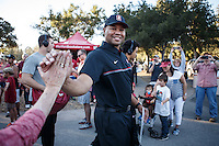 Stanford, Ca - October 8, 2016: David Shaw, head coach, during &quot;The Walk&quot; before the Stanford vs. Washington State game Saturday night at Stanford Stadium. <br /> <br /> Washington State won 42-16.