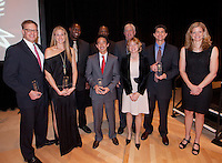 Stanford Athletics Hall of Fame (L-R)  Jay Mortenson, Swimming 1985-1989, Kerri Walsh, Volleyball 1996-2000, Bob L. Whitfield III,  Football 1989-1993, Alex Kim, Tennis 1997-2001, Don Griffin, Basketball 1965-1969, Mhairi McKay-Smith, Golf 1993-1997, Don Shaw, Volleyball Coach, Stan Spencer, Baseball 1987-1990 and Trisha Stevens Lamb, Basketball 1987-1991.   ( Norbert von der Groeben )