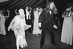 Bopping the night away. Berekley Square Ball, London 1981. Woman in see through crochet dress and wearing no underwear.