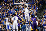 UK forward Nerlens Noel blocked a shot by LSU forward Johnny O'Bryant III during the second half of the men's basketball game vs. LSU at Rupp Arena, in Lexington, Ky., on Saturday, January 26, 2013. Photo by Genevieve Adams  | Staff.