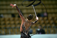 """Valeria Shurkhal of Ukraine performs with ribbon at 2008 World Cup Kiev, """"Deriugina Cup"""" in Kiev, Ukraine on March 22, 2008."""