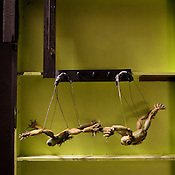 "Puppet frogs backstage on the set of ""Exit The King"" at Duke University."