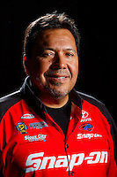 Feb 8, 2017; Pomona, CA, USA; NHRA funny car driver Cruz Pedregon poses for a portrait during media day at Auto Club Raceway at Pomona. Mandatory Credit: Mark J. Rebilas-USA TODAY Sports