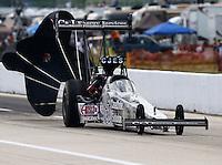 Apr 25, 2015; Baytown, TX, USA; NHRA top fuel driver Larry Dixon during qualifying for the Spring Nationals at Royal Purple Raceway. Mandatory Credit: Mark J. Rebilas-