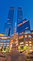 New York City, New York, Time Warner Center. Designed by David Childs of Skidmore, Owings &amp; Merrill LLP, 10 Columbus Circle, Late Modern (International Style III)