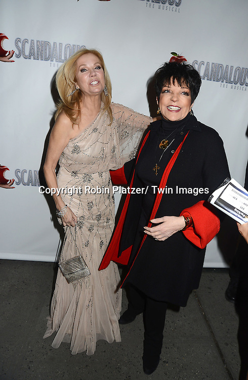 "Kathie Lee Gifford and Liza Minnelli attend the ""Scandalous"" Broadway Opening on November 15, 2012 at The Neil Simon Theatre in New York City. Kathie Lee Gifford wrote the book and the lyrics."
