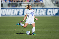 Cary, North Carolina - Sunday December 6, 2015: Rebecca Quinn (5) of the Duke Blue Devils kicks the ball during first half action against the Penn State Nittany Lions at the 2015 NCAA Women's College Cup at WakeMed Soccer Park.  The Nittany Lions defeated the Blue Devils 1-0.