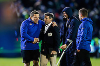Bath Rugby first team coach Toby Booth with Head Coach Mike Ford after the match. European Rugby Champions Cup match, between Bath Rugby and Leinster Rugby on November 21, 2015 at the Recreation Ground in Bath, England. Photo by: Rogan Thomson / JMP for Onside Images
