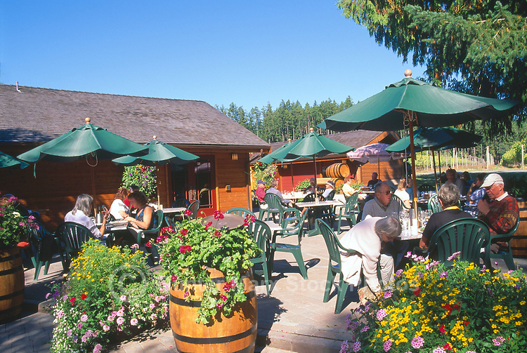People eating Lunch at the Bistro at Cherry Point Vineyards during the Cowichan Valley Wine & Culinary Festival, on Vancouver Island, British Columbia, Canada