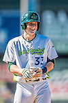 5 September 2016: Vermont Lake Monster catcher Sean Murphy smiles at first after hitting an RBI single in the 8th inning against the Lowell Spinners at Centennial Field in Burlington, Vermont. The Lake Monsters defeated the Spinners 9-5 to close out their 2016 NY Penn League season. Mandatory Credit: Ed Wolfstein Photo *** RAW (NEF) Image File Available ***