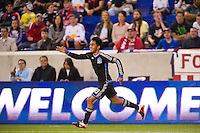 Rafael Baca (30) of the San Jose Earthquakes celebrates scoring during the first half against the New York Red Bulls during a Major League Soccer (MLS) match at Red Bull Arena in Harrison, NJ, on April 14, 2012.