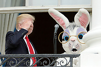 United States President Donald Trump salutes during the annual Easter Egg Roll on the South Lawn of the White House  in Washington, DC, on April 17, 2017. <br /> CAP/MPI/CNP/RS<br /> &copy;RS/CNP/MPI/Capital Pictures