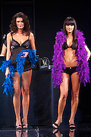Hungarian celebrity Zita Debreczeni (R) presents collections by Pussy Deluxe and Vive Maria during the opening underwear fashion show of the new event hall called Show-Room in Budapest, Hungary on October 26, 2007. ATTILA VOLGYI