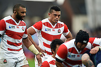 Hendrik Tui looks on as the Japan forwards pack down for a scrum. Rugby World Cup Pool B match between Scotland and Japan on September 23, 2015 at Kingsholm Stadium in Gloucester, England. Photo by: Patrick Khachfe / Onside Images