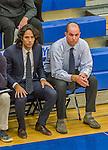22 November 2015: Yeshiva University Maccabee Basketball Head Coach Elliot Steinmetz (right) and Assistant Coach Yogev Berdugo watch play against the Hunter College Hawks at the Max Stern Athletic Center  in New York, NY. The Maccabees defeated the Hawks 81-71 in non-conference play, for their second win of the season. Mandatory Credit: Ed Wolfstein Photo *** RAW (NEF) Image File Available ***
