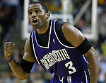 Sacramento Kings' Cuttino Mobley yells encouragement to his teammates in final minute of their 87-82 loss to the Seattle SuperSonics' in the first round playoff game at Key Arena in Seattle, Washington Saturday, 23 April  2005..Jim Bryant Photo. &copy;2010. All Rights Reserved.