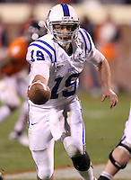 CHARLOTTESVILLE, VA- NOVEMBER 12: Quarterback Sean Renfree #19 of the Duke Blue Devils handles the ball during the game against the Virginia Cavaliers on November 12, 2011 at Scott Stadium in Charlottesville, Virginia. Virginia defeated Duke 31-21. (Photo by Andrew Shurtleff/Getty Images) *** Local Caption *** Sean Renfree