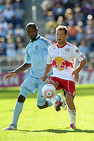 Red Bulls midfielder Teemu Tainio (2) gets ahead of Sporting KC midfielder Julio Cesar... Sporting Kansas City defeated New York Red Bulls 2-1 at LIVESTRONG Sporting Park, Kansas City, Kansas.
