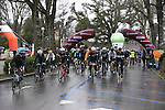 A wet day ahead for the 5000 riders in the 2017 Strade Bianche Gran Fondo by Trek running 127km from Siena to Siena, Tuscany, Italy 5th March 2017.<br /> Picture: La Presse/Gian Mattia D'Alberto | Newsfile<br /> <br /> <br /> All photos usage must carry mandatory copyright credit (&copy; Newsfile | La Presse)