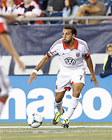 D.C. United forward Dwayne De Rosario (7) looks to pass. In a Major League Soccer (MLS) match, the New England Revolution (blue) defeated D.C. United (white), 2-1, at Gillette Stadium on September 21, 2013.