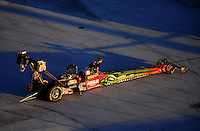 Jan. 20, 2012; Jupiter, FL, USA: Aerial view of the car of NHRA top fuel dragster driver Terry McMillen during testing at the PRO Winter Warmup at Palm Beach International Raceway. Mandatory Credit: Mark J. Rebilas-