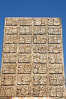 Obelisk covered in Mayan glyphs, Gran Museo del Mundo Maya museum in Merida, Yucatan, Mexico      .