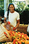 Govind Armstrong, star chef of Table 8, shopping at the Hollywood Farmers' Market