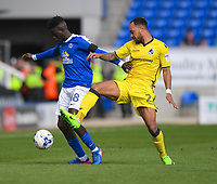 Bristol Rovers' Byron Moore (R) battles with  Peterborough United's Leo Da-Silva-Lopes (L)<br /> <br /> Peterborough 4 - 2 Bristol Rovers<br /> <br /> Photographer David Horton/CameraSport<br /> <br /> The EFL Sky Bet League One - Peterborough v Bristol Rovers - Saturday 22nd April 2017 - ABAX Stadium - Peterborough <br /> <br /> World Copyright &copy; 2017 CameraSport. All rights reserved. 43 Linden Ave. Countesthorpe. Leicester. England. LE8 5PG - Tel: +44 (0) 116 277 4147 - admin@camerasport.com - www.camerasport.com