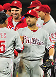 27 September 2010: Philadelphia Phillies' third baseman Placido Polanco celebrates with teammates after a division-clinching shutout against the Washington Nationals at Nationals Park in Washington, DC. With the 8-0 win, the Philles become the National League Eastern Division Champions. Mandatory Credit: Ed Wolfstein Photo
