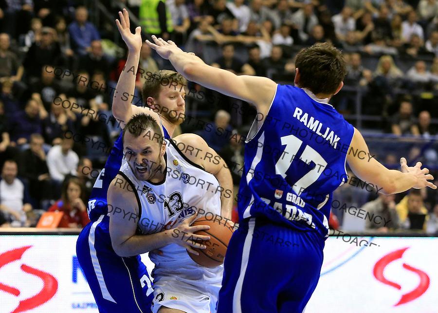Kosarka ABA League season 2014-2015<br /> Partizan v Zadar<br /> Milan Macvan (C) Marko Ramljak (R)<br /> Beograd, 15.03.2015.<br /> foto: Srdjan Stevanovic/Starsportphoto&copy;
