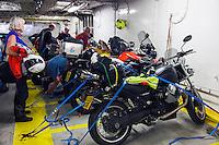 Harwich, Essex, England 14/07/2013.<br /> Moto Guzzi Bellagio tied on Esbjerg ferry along with BMW club.