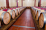 Barrels of the winery's signature red blend, 'Octagon,' line the neat barrel room at Barboursville Vineyards.