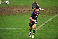 Abby Wambach celebrates after scoring versus Germany.  The USA captured the 2010 Algarve Cup title by defeating Germany 3-2, at Estadio Algarve on March 3, 2010.