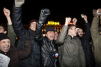 Moscow, Russia, 31/10/2010..Demonstrators block a street after breaking through a police and army security cordon at the first Strategy 31 anti-government demonstration to be permitted after all previous such demonstrations were broken up by police. Opposition activists hold regular demonstrations on the 31st day of the month, protesting against restrictions on the freedom of assembly, which is protected by article number 31 of the Russian constitution.