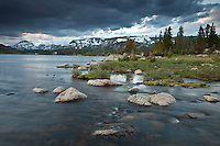 Lake at sunset in the Beartooth Mountains of the Shoshone National Forest Wyoming