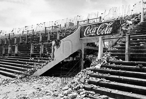 01.12.1976 Rosario, Argentina. Renovations progress at the Stadion in Rosario. One of the stadiums used for the games during the 1978 World Cup finals in Argentina.