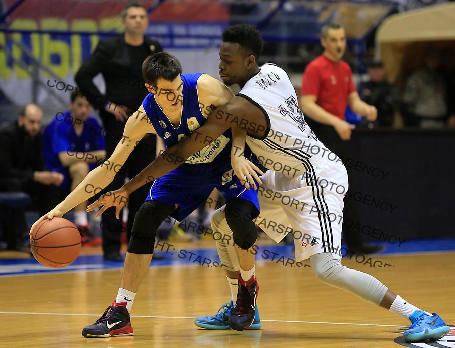 Kosarka ABA League season 2014-2015<br /> Partizan v Zadar<br /> Lovre Basic (L) and Boris Dallo<br /> Beograd, 15.03.2015.<br /> foto: Srdjan Stevanovic/Starsportphoto&copy;