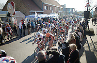 peloton racing through Ichtegem during the final local laps<br /> <br /> 3 Days of West-Flanders 2015<br /> stage 2: Nieuwpoort - Ichtegem 184km