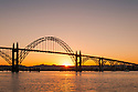 Yaquina Bay Bridge at sunrise, Newport, central Oregon Coast.