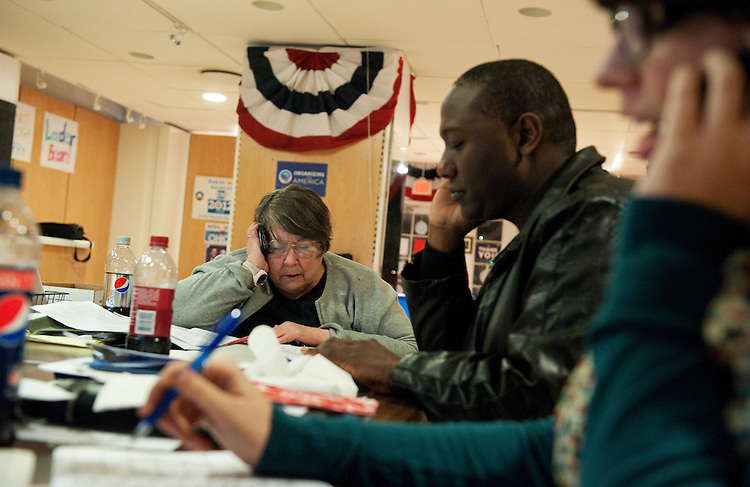 UNITED STATES - FEBRUARY 12:  From left, Judy Bugsley, Mark Ballard, and Mallory Long, work the phones at President Barack Obama's campaign office in Cleveland, Ohio. (Photo By Tom Williams/CQ Roll Call)