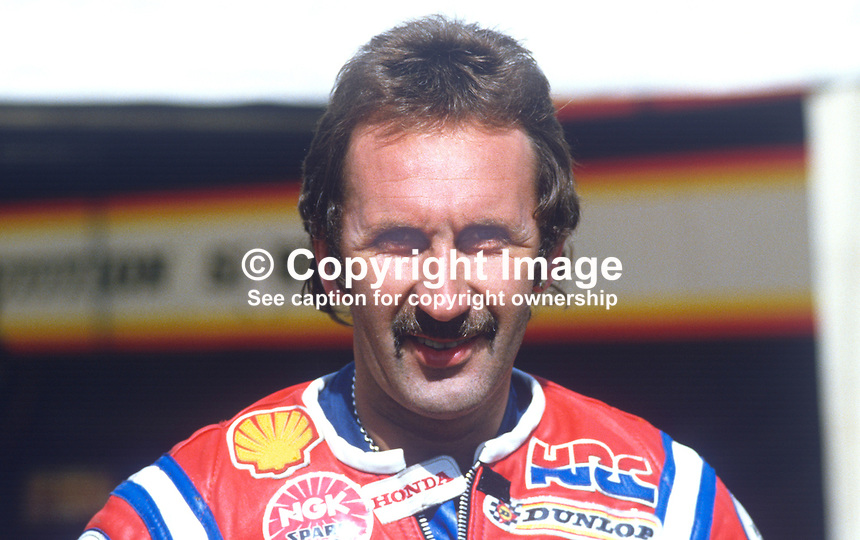 Roger Marshall, Lincolnshire, UK, racing motorcylist, 19840101RM.<br /> <br /> Copyright Image from Victor Patterson, 54 Dorchester Park, Belfast, UK, BT9 6RJ<br /> <br /> t1: +44 28 9066 1296 (from Rep of Ireland 048 9066 1296)<br /> t2: +44 28 9002 2446 (from Rep of Ireland 048 9002 2446)<br /> m: +44 7802 353836<br /> <br /> e1: victorpatterson@me.com<br /> e2: victorpatterson@gmail.com<br /> <br /> The use of my copyright images is subject to my Terms &amp; Conditions.<br /> <br /> It is IMPORTANT that you familiarise yourself with them. They are available on my website at www.victorpatterson.com.<br /> <br /> None of my copyright images may be used on a website unless they are visibly watermarked, i.e. &copy; Victor Patterson within the body of the visible image. Metadata denoting my copyright must NOT be deleted. <br /> <br /> Web use is extra at currently recommended NUJ rates.