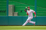 27 May 2013: Washington Nationals outfielder Denard Span pulls in a Chris Davis fly ball during game action against the Baltimore Orioles at Nationals Park in Washington, DC. The Orioles defeated the Nationals 6-2, taking the Memorial Day, first game of their interleague series. Mandatory Credit: Ed Wolfstein Photo *** RAW (NEF) Image File Available ***