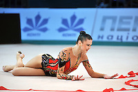 "ALINA MAKSYMENKO  of Ukraine performs on way to winning 3 of 4 Event Finals at 2011 World Cup Kiev, ""Deriugina Cup"" in Kiev, Ukraine on May 8, 2011."