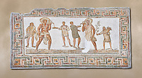 3rd century AD Roman mosaic panel of a drinking scene from Dougga, Tunisia.  The Bardo Museum, Tunis, Tunisia.
