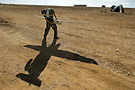 ISRAEL-GAZA BORDER, ISRAEL<br /> An Israeli soldier operates a 'Skylark' unmanned aerial vehicle (UAV), before flying it over Gaza soil to gather tactical intelligence, during operation Protective Edge.