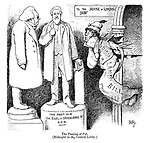 The Passing of Pat. (Midnight in the central lobby.) (a Victorian cartoon shows a fenian ghost wearing the Irish Land Bill being afraid of the statue of The Earl of Iddesleigh as he returns battered and bandaged by the House of Lords)