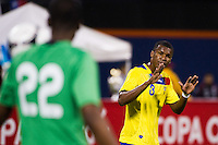 Fricson Erazo (3) of Ecuador talks with goalkeeper Alexander Dominguez (22). Ecuador defeated Chile 3-0 during an international friendly at Citi Field in Flushing, NY, on August 15, 2012.