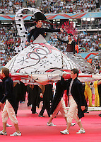 JUNE 9, 2006: Munich, Germany: Dancers, music, and large floats were featured during the opening ceremonies for the World Cup Finals in Munich, Germany.