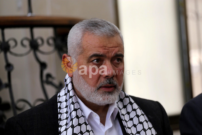 Senior political Hamas leader Ismail Haniya attends the opening of a new mosque, in al Tuffah area in the east of Gaza City on April 21, 2017. Photo by Mohammed Asad